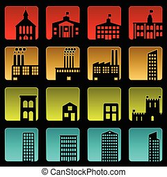 Building icons - Set of sixteen simple beveled building ...