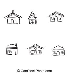 building icons, sketch, vector