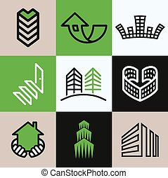 Building icons vector set