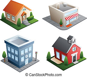 Building illustrations - Set of 4 building illustrations -...
