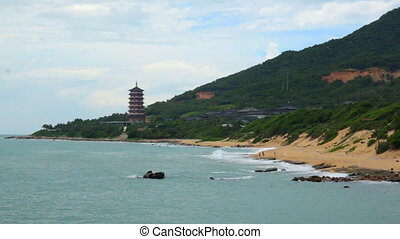 Building in asia style on beautiful beach in China