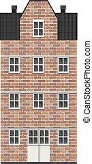 Building in bricks in city