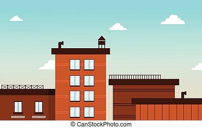 Building in cartoon flat style vector