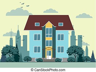Building in flat style. Illustration