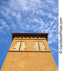 building in italian style and blue sky