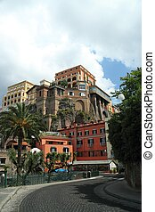 Building in Sorrento - A hotel high on a cliff in the...