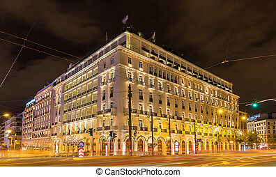 Building in the city center of Athens decorated for...