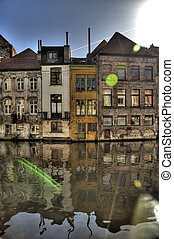 ghent - building in the old town of ghent, belgium (hdr)