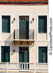 Building in the old town of Skopelos, Greece.