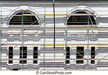 building in the scaffolding