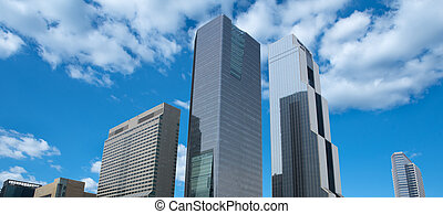 Building in urban city background of blue sky