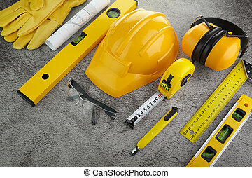 Building industry concept. Architectural background. Construction helmet.