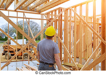 Building Inspector Looking new home construction At New Property