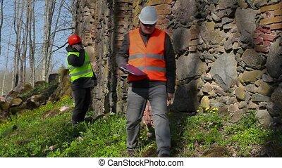 Building inspectors checking ancien