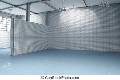 Building interior, unoccupied - 3d building interior with...