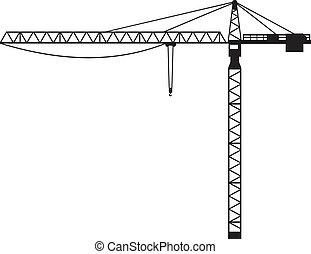 (building, kraan, kraan, crane), toren
