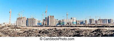 Building landscape and huge crane