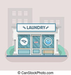 Building laundry flat design. Washing mashine, building....