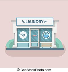 Building laundry flat design. Washing mashine. Vector art...