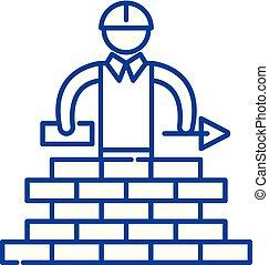 Building line icon concept. Building flat  vector symbol, sign, outline illustration.