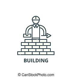 Building line icon, vector. Building outline sign, concept symbol, flat illustration