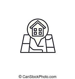 Building location linear icon concept. Building location line vector sign, symbol, illustration.