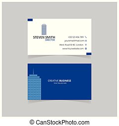 Building logo Minimal Corporate Business card with Blue and White Color