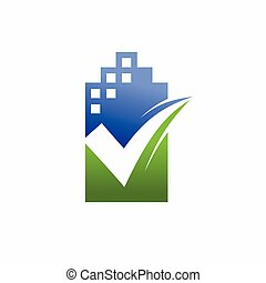building logo with check mark silhouette