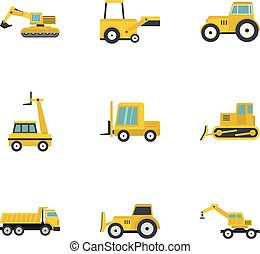 Building machine icon set, flat style