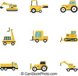 Building machine icon set, flat style