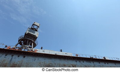 Building marine crane ship cargo on the dock at seaport -...