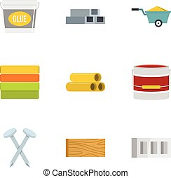 Building material icon set, flat style