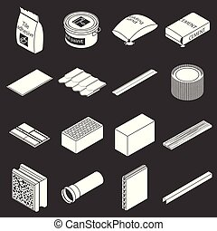 Building materials icons set grey vector