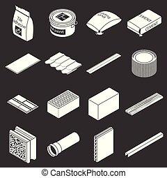 Building materials icons set grey vector