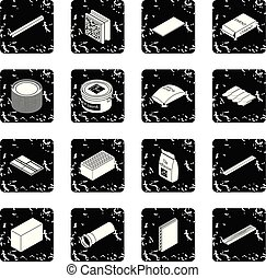 Building materials icons set grunge vector
