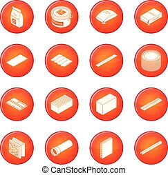 Building materials icons set red vector