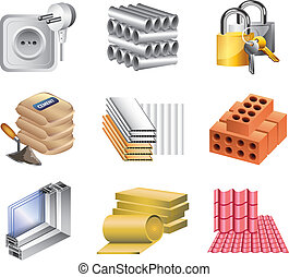 building materials icons vector set