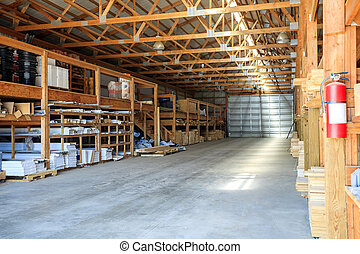 Building materials stored in warehouse , USA