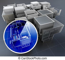 Building monitoring system - 3D rendering of building...