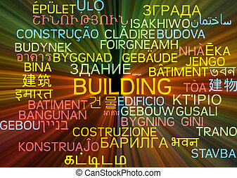 Building multilanguage wordcloud background concept glowing