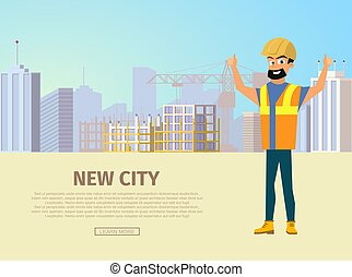Building New City Flat Vector Web Banner Template
