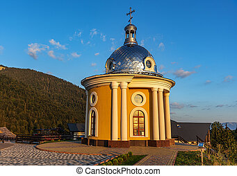 Building of a orthodox church in the countryside.