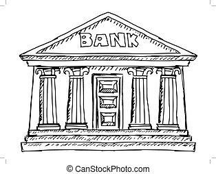 building of bank - hand drawn, sketch illustration of bank