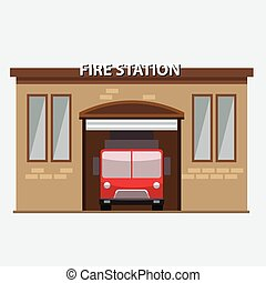 Building of fire station with a truck car in garrage