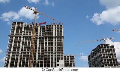 Building of high-rise, modern buildings. Time lapse.