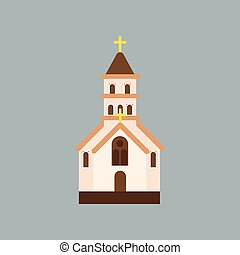 Building of Orthodox church. Catholic temple with arched...
