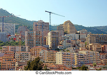 Building of residental skyscrapers in Monaco, Europe.