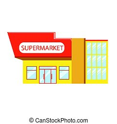Building of supermarket in red yellow colors, colorful vector Illustration