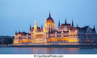 Hungarian parliament with night illumination.