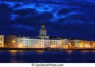 building of the Kunstkammer in St. Petersburg in night, Russia